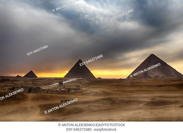 The Great Pyramids at sunset in Giza, Egypt