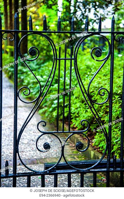 Detail of a wrought iron fence in Charleston South Carolina