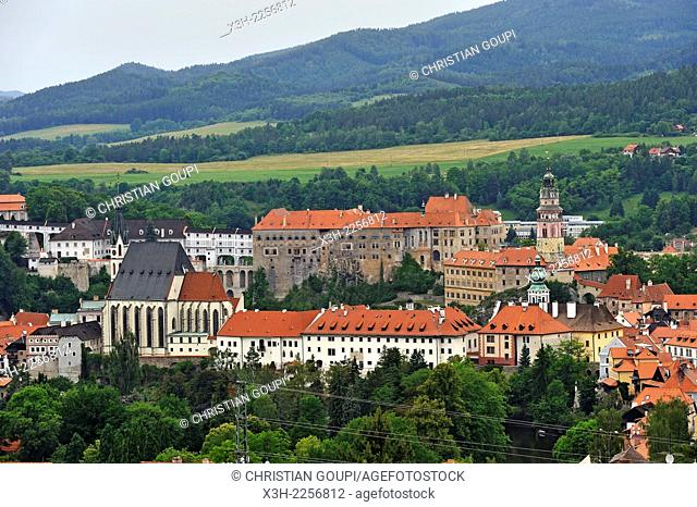 view of the historic centre from the Mountain of the Cross near Cesky Krumlov, South Bohemia, Czech Republic, Europe