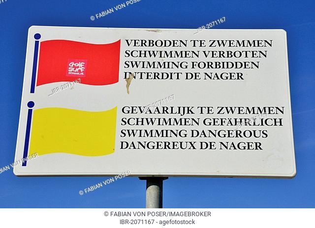 No swimming sign on the beach of Scheveningen, Holland, Netherlands, Europe