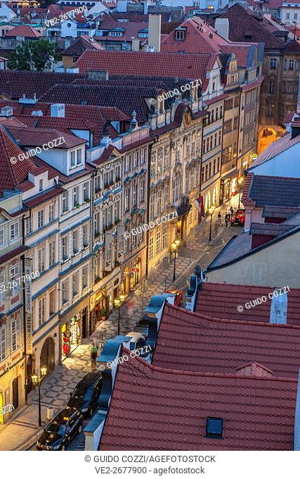 View from Charles Bridge tower on the Lesser Quarter, Prague, Czech Republic