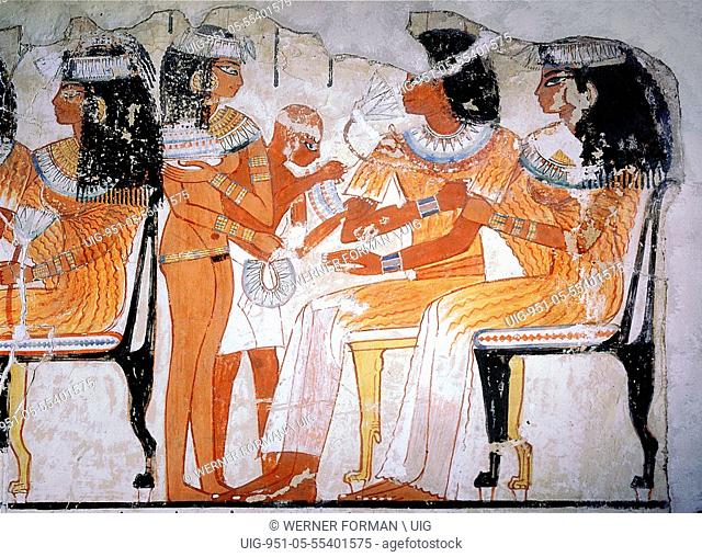 A detail of a wall painting from the tomb of Nebamun depicting two guests at a banquet
