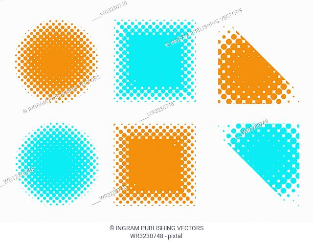 illustrated collection of blue and orange halftone shapes
