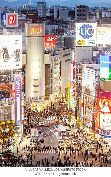 Shibuya. Scramble Kousaten crossing in Hachiko square. Tokyo city, Japan