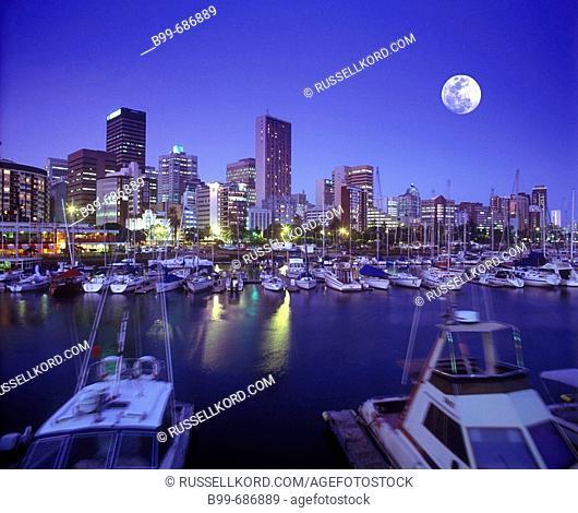Royal Yacht Club, Downtown Skyline, Natal Bay Durban, South Africa