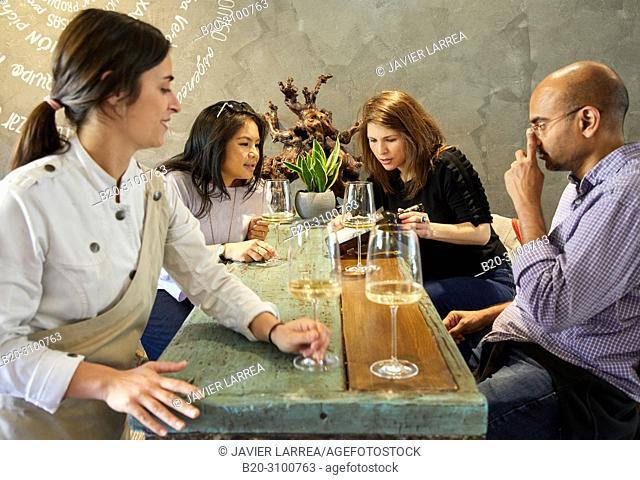 Wine tasting at Restaurante Rita, Gastronomic tour, guide with tourists, Donostia, San Sebastian, Gipuzkoa, Basque Country, Spain, Europe