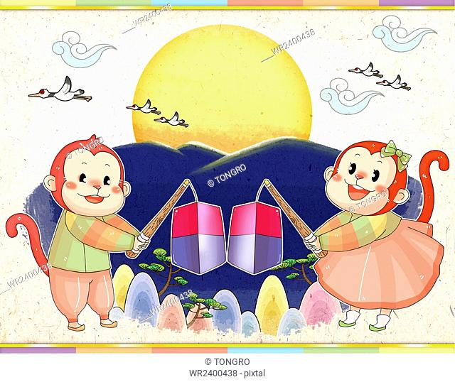 New year with two smiling monkeys in traditional Korean clothes holding cheongsachorong, traditional Korean lanterns