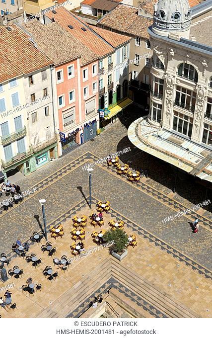 France, Aude, Narbonne, Via Domitia on Place de l'Hotel de Ville
