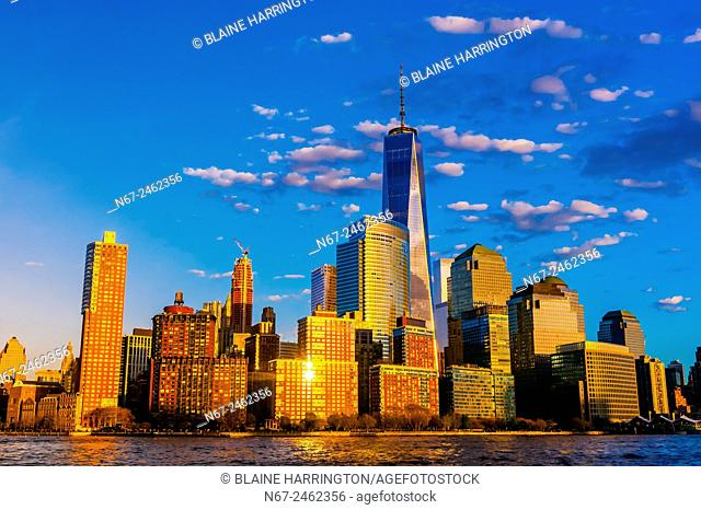 One World Trade Center (tallest skyscraper in the Western Hemisphere and fourth tallest in the world) towers over other buildings in Battery Park City, New York