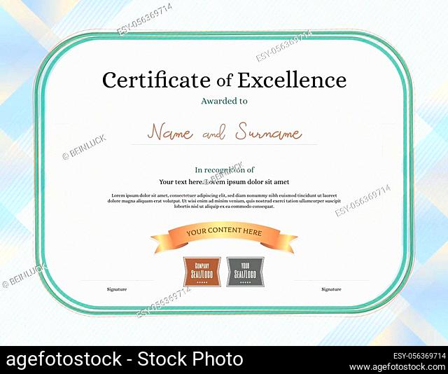 Certificate of excellence template with award ribbon on abstract guilloche background