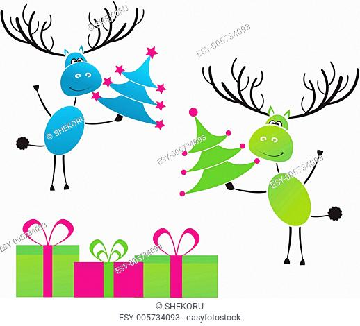 Two Christmas reindeer with gifts for you