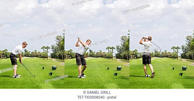 Man hitting ball with golf club