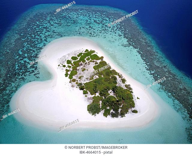 Heart-shaped, uninhabited palm island with sandy beach, offshore coral reef, Ari atoll, Indian Ocean, Maldives