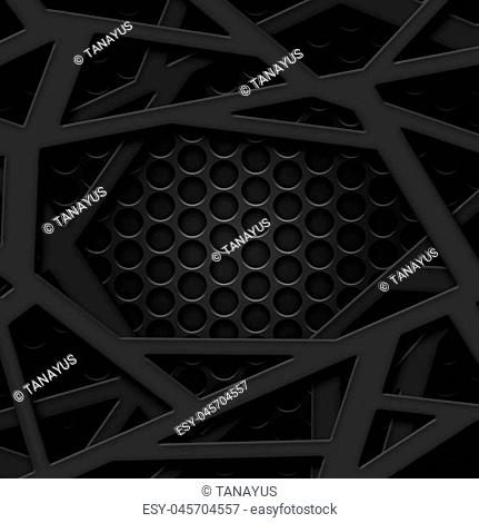 set 8. gray frame on black carbon fiber mesh. metal background and texture. 3d illustration