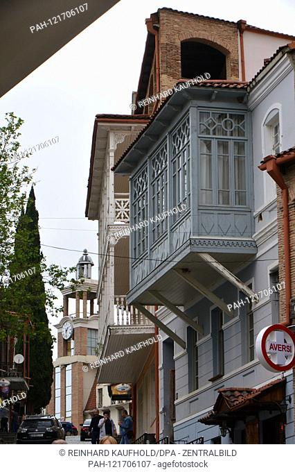 Old house with typical wooden oriel in the mostly renovated historical old town Sighnaghi (Signagi) in Georgia (Kakheti), recorded on 21.05