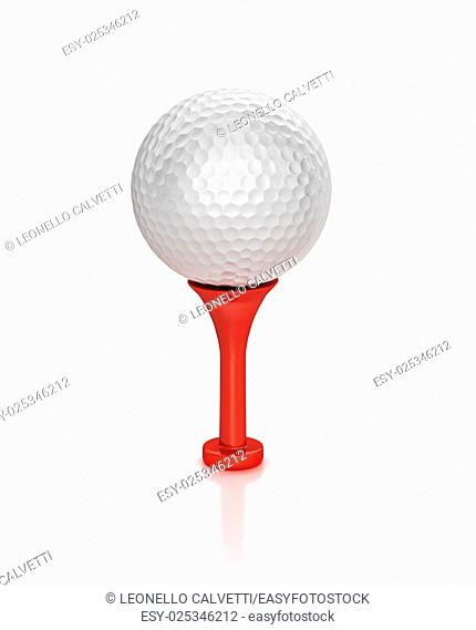 3D digital rendering of a Golf ball placed on tee, on white surface, with clipping path