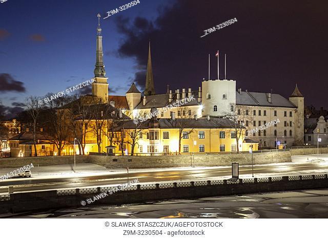 Winter dawn at Riga castle, Latvia