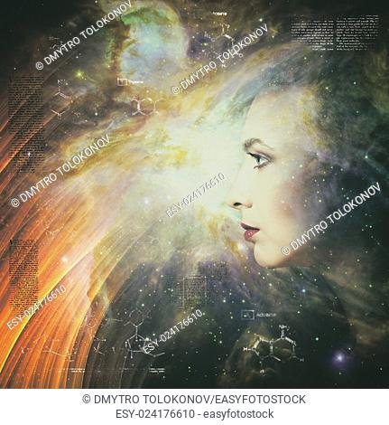 Mankind and evolution, female portrait against abstract science backgrounds