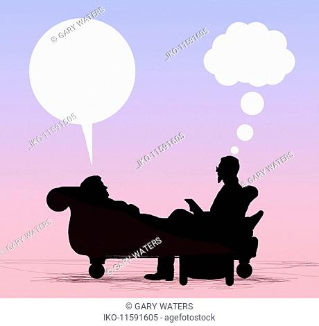 Patient lying on couch talking to psychiatrist