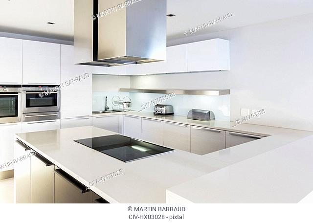 Modern, minimalist white home showcase kitchen