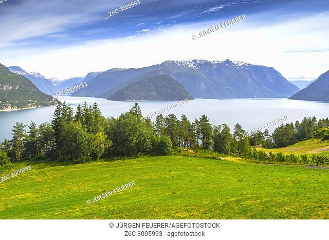 Eidfjorden panorama near Erdal, Norway, Scandinavia, eastern part of Hardangerfjord near village Eidfjord