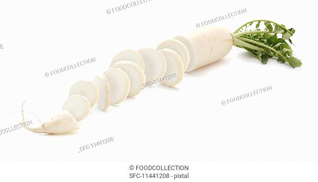 A sliced radish