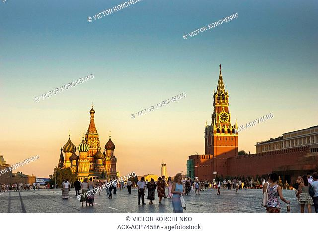 People walking on Red Square in Moscow, Russia