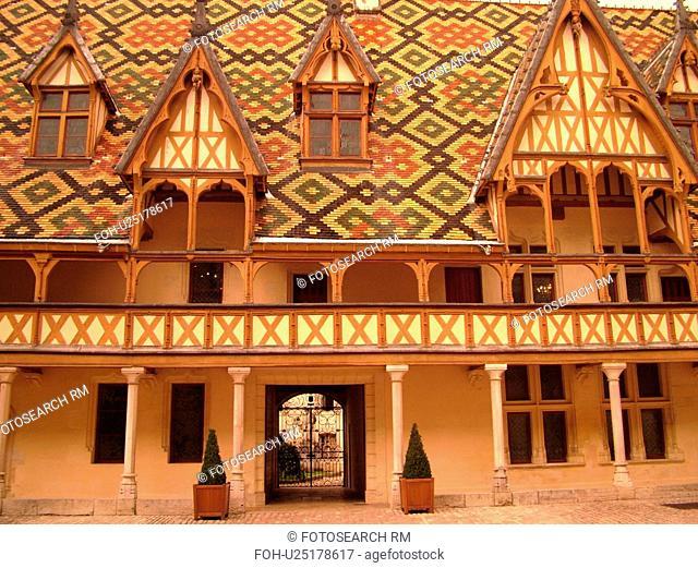 France, Beaune, Burgundy, Cote de Beaune, Cote d'Or, Europe, Burgundy Wine Region, downtown, Hotel-Dieu