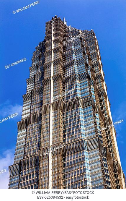 Jin Mao Tower Skyscraper Close Up Patterns and Designs Liujiashui Financial District Shanghai China