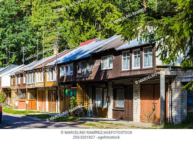 Wooden houses. Juodkranteis a quiet Lithuanian seaside resort village located on the Curonian Spit. Curonian Spit. Juodkrante, Neringa Municipality