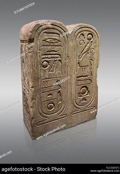 Ancient Egyptian architectonic element of the temple of Aten, Karnak, limestone, New Kingdom 18th Dynasty (1353-1336 BC). Egyptian Museum, Turin