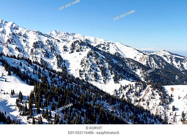 mountain landscape in the winter in the mountains of Trans-Ili Alatau near Almaty