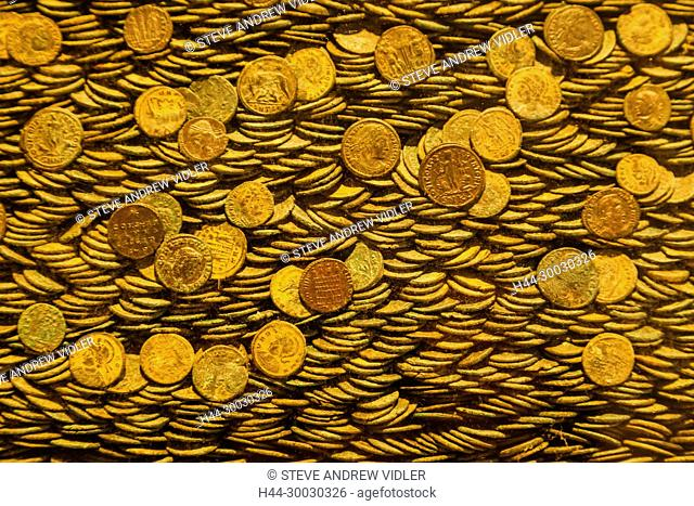England, Devon, Exeter, Royal Albert Memorial Museum and Art Gallery aka RAMM, The Seaton Down Hoard of Roman Coins