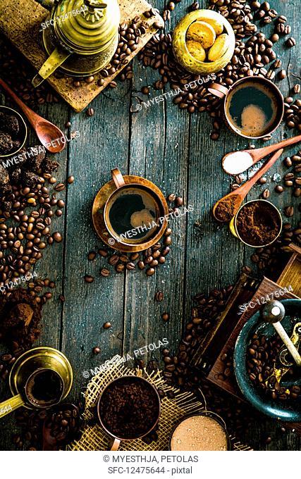 An arrangement of Turkish coffee (seen from above)