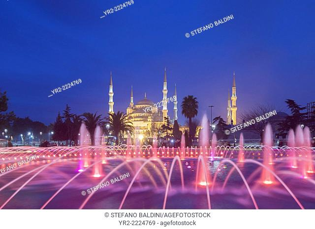 The Blue Mosque at night as seen from Sultanahmet park, Istanbul, Turkey