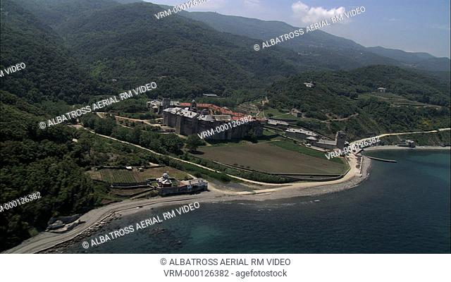 Aerial HD video of moni Iviron monastery