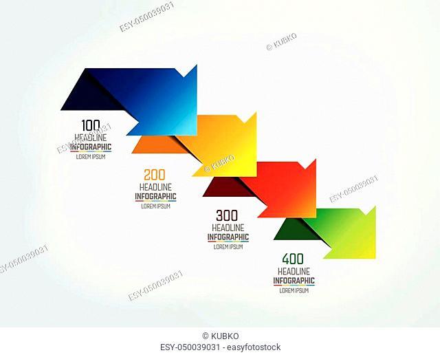 4 arrows scheme, chart, template, infographic