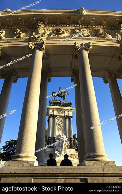 monument of Alfonso XII spanish king. el retiro park. madrid. spain