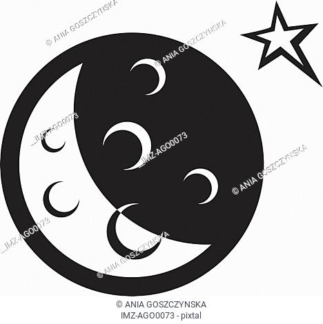 Black and white illustration of a moon