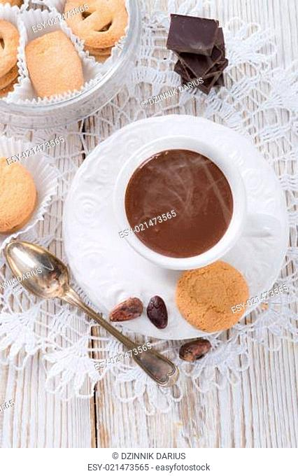 Hot chocolate with cookie
