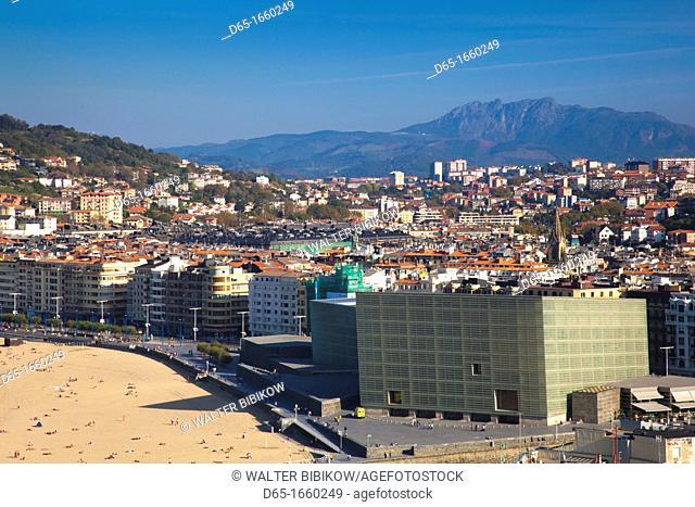 Spain, Basque Country Region, Guipuzcoa Province, San Sebastian, Monte Urgull, elevated view of Kursaal convention center