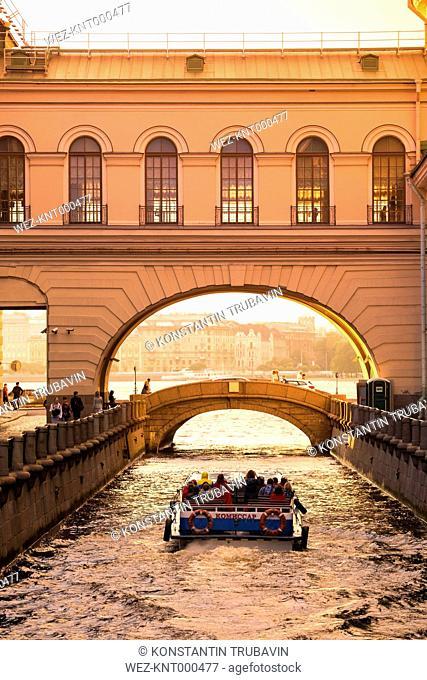 Russia, Saint Petersburg, Hermitage Bridge over Winter Canal