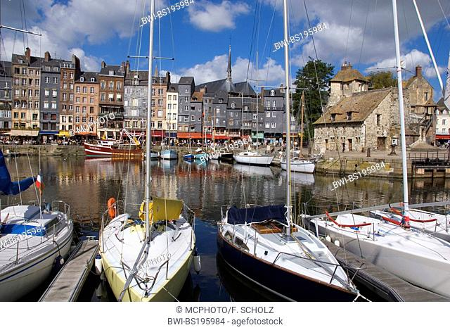 sailing boats at the old harbour, France, Normandy, Honfleur