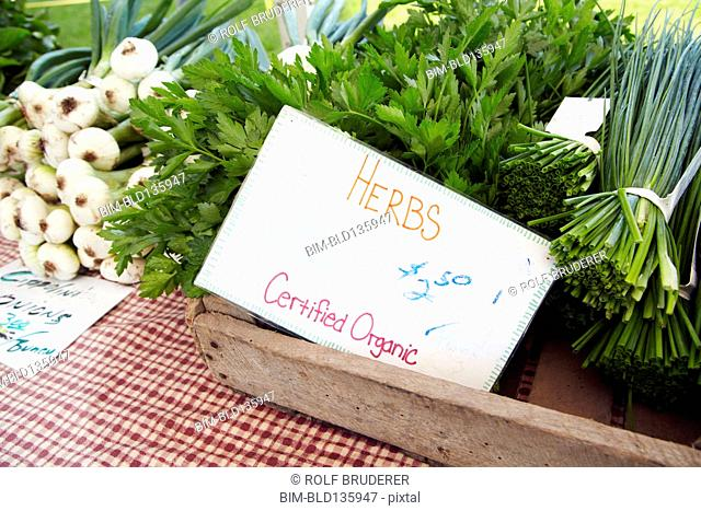 Organic herbs for sale in market