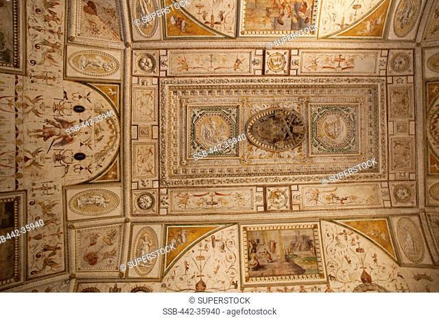 Ornate frescoes on ceiling