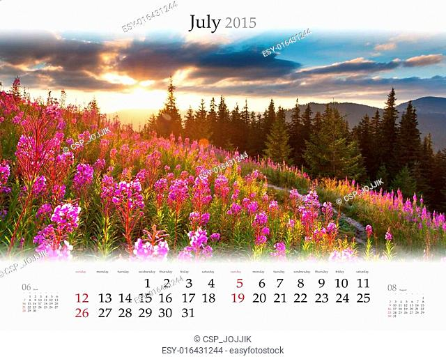 Calendar 2015. July. Beautiful summer sunset on the field of whe
