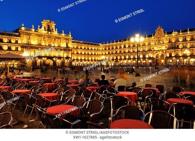 Europe, Spain, Castile and Leon, Castilia y Leon, Salamanca, Plaza Mayor, city square, Unesco World Heritage Site