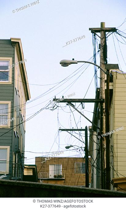 Electrical wires between buildings. San Francisco. California. USA