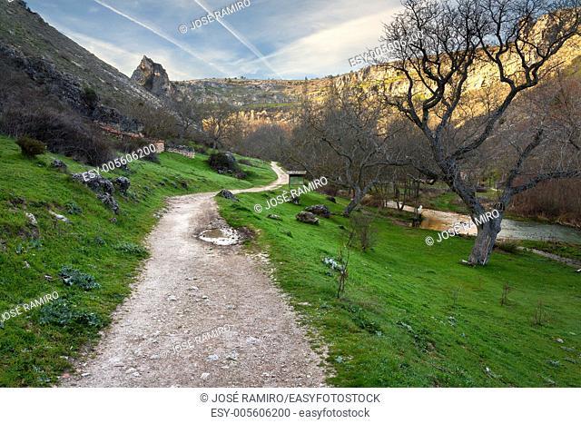 Track on the Dulce river gorge in Pelegrina. Guadalajara. Castilla la Mancha. Spain