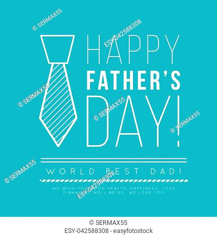 Happy father's day. Congratulation in the fashionable style of minimalism with geometric shapes on a blue background